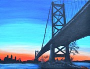 Philadelphia Pa Painting Posters - Bridge to Philly Poster by Jennifer Virgin