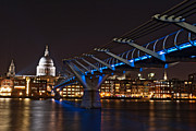 Cities Pyrography Metal Prints - Bridge to St Pauls London Metal Print by Karl Wilson