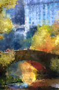 Central Park Digital Art Prints - Bridge View Print by Jeri Kelly