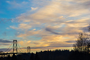 Lions Gate Bridge Framed Prints - Bridge View Sunset Framed Print by Alanna Dumonceaux