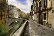 Tourism Prints - Bridges at Darro Street in historic Albaycin in Granada Print by Guido Montanes Castillo