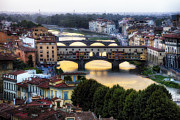 Arno River Framed Prints - Bridges of Florence Framed Print by George Oze