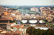 Arno River Framed Prints - Bridges of Florence Framed Print by Susan  Schmitz