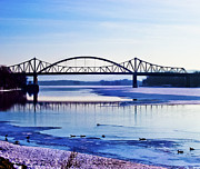 Geese Photos - Bridges over the Mississippi by Christi Kraft