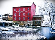 Bridgeton Covered Bridge Art - Bridgeton Mill in Winter by Virginia Folkman