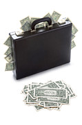 Brief Case Posters - Briefcase Stuffed With Dollar Bills Poster by Lee Avison
