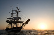 Mast Adventure Prints - Brig Pilgrim at Sunset Print by Cliff Wassmann