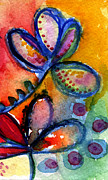 Wet Mixed Media Prints - Bright Abstract Flowers Print by Linda Woods