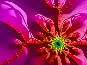 Fractals Photos - Bright and colorful digital abstract fractal artwork purple and red by Matthias Hauser