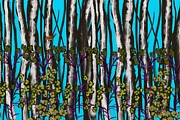 Digital Tablet Prints - Bright Blue and Birch Print by Nancy Long