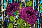 Digital Tablet Prints - Bright Blue with Purple Mums Print by Nancy Long