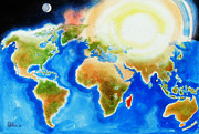 Water Colours Posters - Bright Blue World Map in Watercolor with Sunshine and Moon  Poster by Kip DeVore