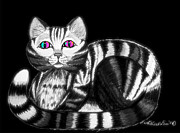 Cats Digital Art Prints - Bright Cat Eyes Print by Nick Gustafson