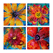 Lyrical Flowers Framed Prints - Bright Colorful Flowers - Flower Collection Best Of Sharon Cummings Framed Print by Sharon Cummings