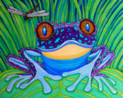 Grass Drawings Framed Prints - Bright Eyed Frog Framed Print by Nick Gustafson