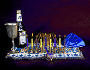 Hanukah Prints - Bright Hanukah Candles Print by Larry Oskin