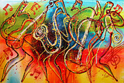 Sax Art Paintings - Bright Jazz by Leon Zernitsky