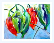 Hot Peppers Pastels Prints - Bright Lanterns Print by Sue Gardner