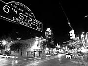 Black-and-white Photo Metal Prints - Bright Lights at Night Metal Print by John Gusky