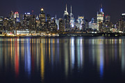 New York City Skyline Photo Framed Prints - Bright Lights Big City Framed Print by Marco Crupi