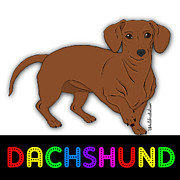 Dachshund Puppy Digital Art Posters - Bright Lights Dachshund Poster by Lori Malibuitalian