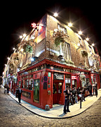 Temple Photo Posters - Bright Lights of Temple Bar in Dublin Ireland Poster by Mark E Tisdale