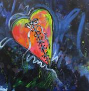 Heart Broken Prints - Bright Mended Broken Heart Print by Carol Suzanne Niebuhr