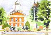 Greens Paintings - Bright Morning at the Courthouse by Kip DeVore