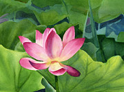 Tropical Flower Painting Posters - Bright Pink Lotus Blossom Poster by Sharon Freeman