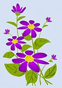 Plant Greeting Cards Art - Bright Purple by Anastasiya Malakhova