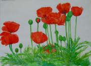 K Joann Russell - Bright Red Poppies Colorful Flowers Original Art Painting Floral Garden Decor Artist K Joann Russell