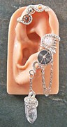 Industrial Jewelry - Bright Silver Crystal Steampunk Ear Wrap by Heather Jordan