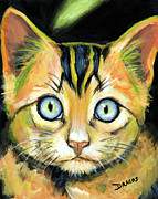Dottie Prints - Bright Tabby Face Green Stripe Print by Dottie Dracos