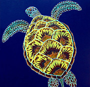 Debbie Painting Posters - Bright Turtle 02 Poster by Debbie Chamberlin