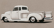 Chevrolet Pickup Truck Drawings Posters - Bright White 3100 Degrees Poster by Paul Kim
