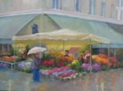 Rainy Street Painting Framed Prints - Brightening a Rainy Day Framed Print by Bunny Oliver