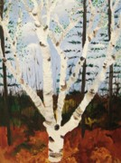Molleur Posters - Brightest Birch Poster by Suzanne  Marie Leclair