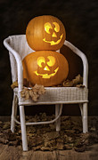 Interior Still Life Prints - Brightly Lit Jack O Lanterns Print by Christopher and Amanda Elwell