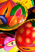 Mexico Framed Prints - Brightly painted bowls at a market - Mexico Framed Print by David Perry Lawrence