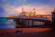 Amusements Metal Prints - Brightons Palace Pier at Dusk Metal Print by Chris Lord