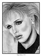 Closeups Drawings Framed Prints - Brigitte Nielsen in 1986 Framed Print by J McCombie