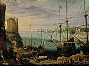 Boats In Harbor Prints - Bril Brill Paul, View Of A Port, 17th Print by Everett