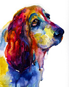 Prismatic Prints - Brilliant Basset Hound watercolor painting Print by Svetlana Novikova