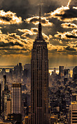 Buildings Photo Metal Prints - Brilliant But Hazy Manhattan Day Metal Print by John Farnan