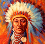 American Indian Portrait Prints - Brilliant Dawn Print by Theresa Paden