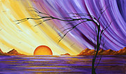 Mountain Reflection Posters - Brilliant Purple Golden Yellow Huge Abstract Surreal Tree Ocean Painting ROYAL SUNSET by MADART Poster by Megan Duncanson