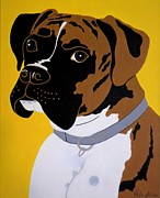 Boxer Painting Framed Prints - Brindle Boxer Framed Print by Julie Stubbs