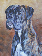 Boxer Art Paintings - Brindle Boxer by Lee Ann Shepard