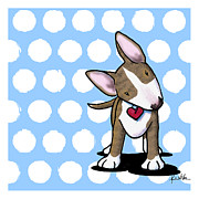 Kim Niles Prints - Brindle Bully on Dotted Blue Print by Kim Niles