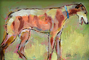 Sight Hound Painting Posters - Brindle Greyhound Poster by Carol Jo Smidt